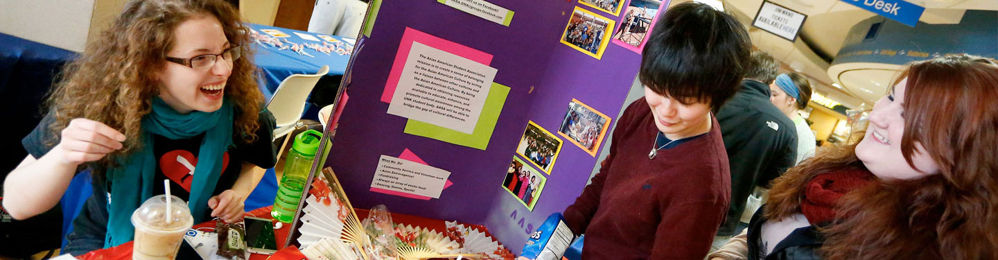 Students looking into student organizations