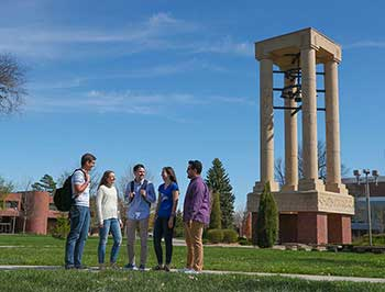 Students in front of the Bell Tower