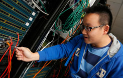 Student working on a computer network