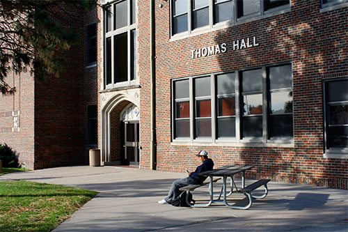 Outside of the Thomas Hall building