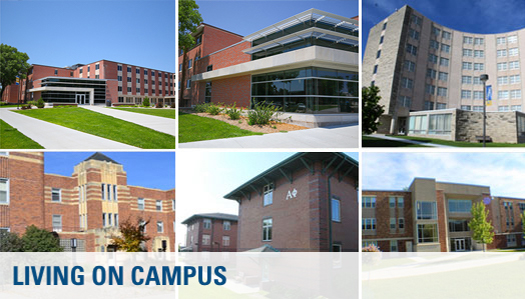 Composite of residence halls on campus.